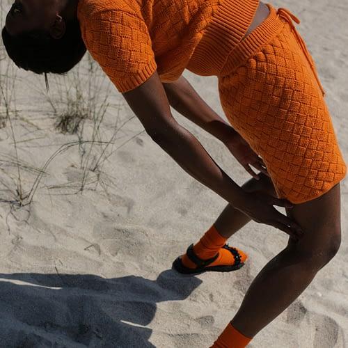 Clouded Squares shorts from extrafine merino, Orange